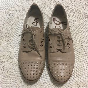 Sam Edelman Nude Lace Up Studded Oxford